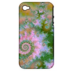 Rose Forest Green, Abstract Swirl Dance Apple Iphone 4/4s Hardshell Case (pc+silicone) by DianeClancy