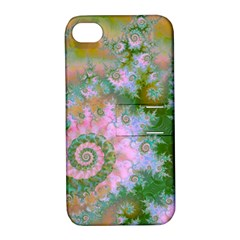 Rose Forest Green, Abstract Swirl Dance Apple Iphone 4/4s Hardshell Case With Stand by DianeClancy