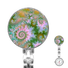 Rose Forest Green, Abstract Swirl Dance Stainless Steel Nurses Watch by DianeClancy