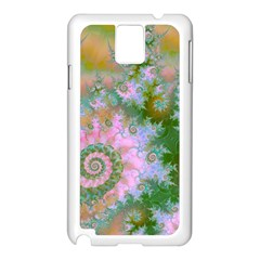 Rose Forest Green, Abstract Swirl Dance Samsung Galaxy Note 3 N9005 Case (white) by DianeClancy