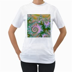 Rose Forest Green, Abstract Swirl Dance Women s T Shirt (white)