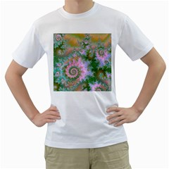 Rose Forest Green, Abstract Swirl Dance Men s T Shirt (white)  by DianeClancy