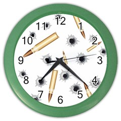 Bulletsnbulletholes Wall Clock (color)