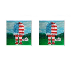 Painted Flag Bigfoot Homo E  Cufflinks (square) by creationtruth