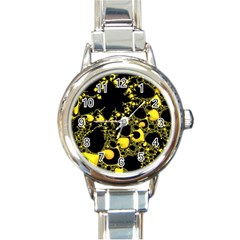 Special Fractal 04 Yellow Round Italian Charm Watch by ImpressiveMoments