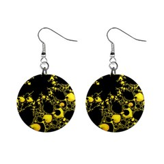 Special Fractal 04 Yellow Mini Button Earrings by ImpressiveMoments