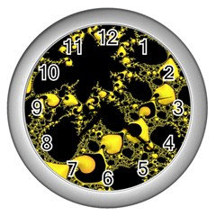 Special Fractal 04 Yellow Wall Clock (silver) by ImpressiveMoments