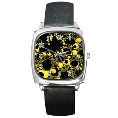 Special Fractal 04 Yellow Square Leather Watch by ImpressiveMoments
