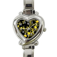 Special Fractal 04 Yellow Heart Italian Charm Watch  by ImpressiveMoments