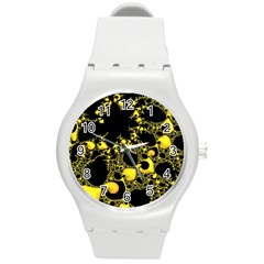 Special Fractal 04 Yellow Plastic Sport Watch (medium) by ImpressiveMoments
