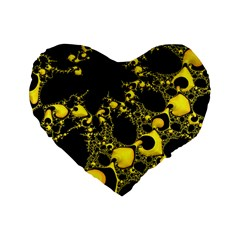 Special Fractal 04 Yellow 16  Premium Heart Shape Cushion  by ImpressiveMoments