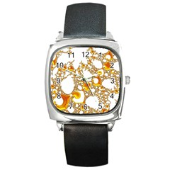Special Fractal 04 Orange Square Leather Watch by ImpressiveMoments