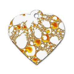 Special Fractal 04 Orange Dog Tag Heart (one Sided)  by ImpressiveMoments