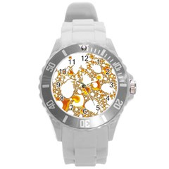 Special Fractal 04 Orange Plastic Sport Watch (large) by ImpressiveMoments