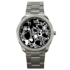 Special Fractal 04 B&w Sport Metal Watch by ImpressiveMoments