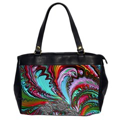 Special Fractal 02 Red Oversize Office Handbag (two Sides) by ImpressiveMoments
