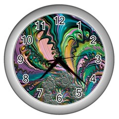 Special Fractal 02 Purple Wall Clock (silver) by ImpressiveMoments
