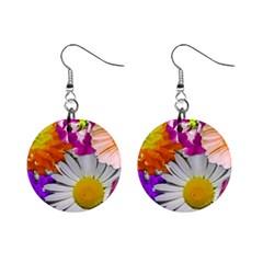 Lovely Flowers,purple Mini Button Earrings