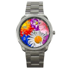 Lovely Flowers, Blue Sport Metal Watch by ImpressiveMoments
