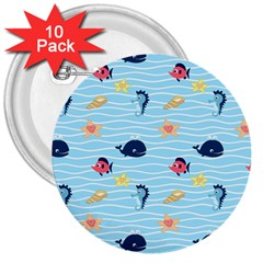 Fun Fish Of The Ocean 3  Button (10 Pack) by StuffOrSomething