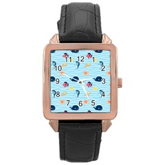 Fun Fish Of The Ocean Rose Gold Leather Watch  by StuffOrSomething