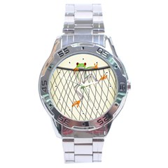 Peace Froggy Hanging On Backpack1 Stainless Steel Watch by CaterinaBassano