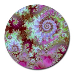 Raspberry Lime Delight, Abstract Ferris Wheel Round Mousepad by DianeClancy