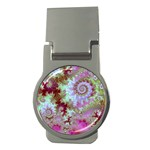 Raspberry Lime Delight, Abstract Ferris Wheel Money Clip (Round) Front