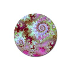 Raspberry Lime Delight, Abstract Ferris Wheel Magnet 3  (round) by DianeClancy