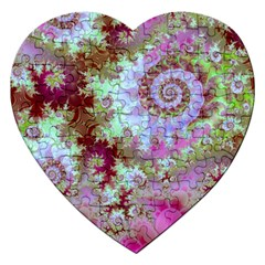 Raspberry Lime Delight, Abstract Ferris Wheel Jigsaw Puzzle (heart) by DianeClancy
