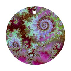 Raspberry Lime Delight, Abstract Ferris Wheel Round Ornament (two Sides) by DianeClancy
