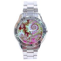 Raspberry Lime Delight, Abstract Ferris Wheel Stainless Steel Analogue Men's Watch by DianeClancy