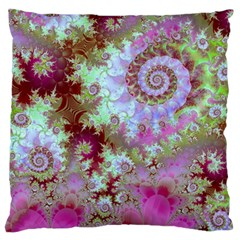 Raspberry Lime Delight, Abstract Ferris Wheel Large Cushion Case (two Sides) by DianeClancy