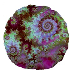 Raspberry Lime Delight, Abstract Ferris Wheel 18  Premium Round Cushion  by DianeClancy