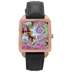 Raspberry Lime Delight, Abstract Ferris Wheel Rose Gold Leather Watch  by DianeClancy