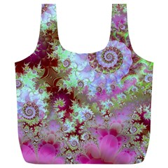 Raspberry Lime Delight, Abstract Ferris Wheel Full Print Recycle Bag (xl) by DianeClancy