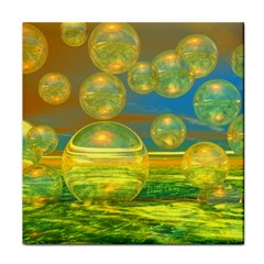 Golden Days, Abstract Yellow Azure Tranquility Ceramic Tile by DianeClancy