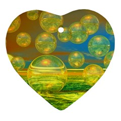 Golden Days, Abstract Yellow Azure Tranquility Heart Ornament by DianeClancy