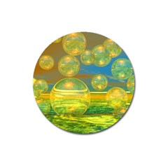 Golden Days, Abstract Yellow Azure Tranquility Magnet 3  (round) by DianeClancy