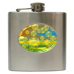 Golden Days, Abstract Yellow Azure Tranquility Hip Flask by DianeClancy