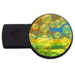 Golden Days, Abstract Yellow Azure Tranquility 2gb Usb Flash Drive (round) by DianeClancy