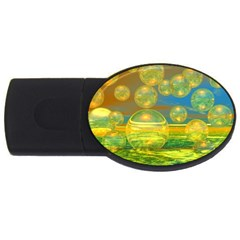 Golden Days, Abstract Yellow Azure Tranquility 2GB USB Flash Drive (Oval) by DianeClancy