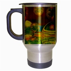 Golden Days, Abstract Yellow Azure Tranquility Travel Mug (silver Gray) by DianeClancy