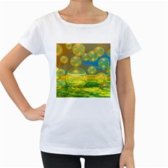 Golden Days, Abstract Yellow Azure Tranquility Women s Loose Fit T Shirt (white) by DianeClancy