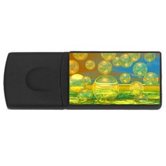 Golden Days, Abstract Yellow Azure Tranquility 4GB USB Flash Drive (Rectangle) by DianeClancy