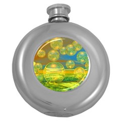 Golden Days, Abstract Yellow Azure Tranquility Hip Flask (Round)