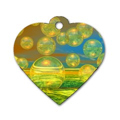 Golden Days, Abstract Yellow Azure Tranquility Dog Tag Heart (one Sided)  by DianeClancy