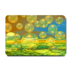Golden Days, Abstract Yellow Azure Tranquility Small Door Mat by DianeClancy