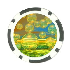 Golden Days, Abstract Yellow Azure Tranquility Poker Chip by DianeClancy