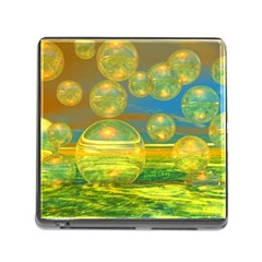 Golden Days, Abstract Yellow Azure Tranquility Memory Card Reader With Storage (square) by DianeClancy